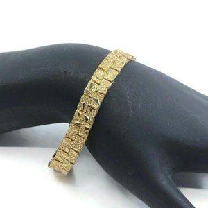 Gold Tone Bracelet Flat Textured Design